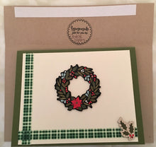 Load image into Gallery viewer, Evergreen Christmas Handmade Cards & Envelopes (Set of 4)