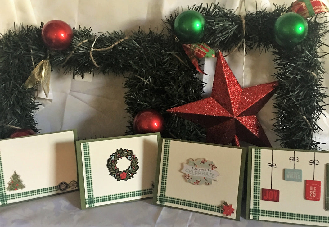 Evergreen Christmas Handmade Cards & Envelopes (Set of 4)
