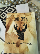 "Load image into Gallery viewer, Alcohol Ink ""Oh Deer"" Handmade Christmas Cards & Envelopes (set of 2)"