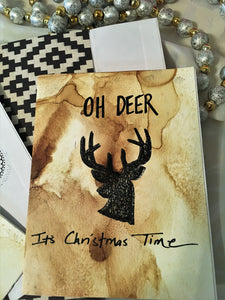 "Alcohol Ink ""Oh Deer"" Handmade Christmas Cards & Envelopes (set of 2)"