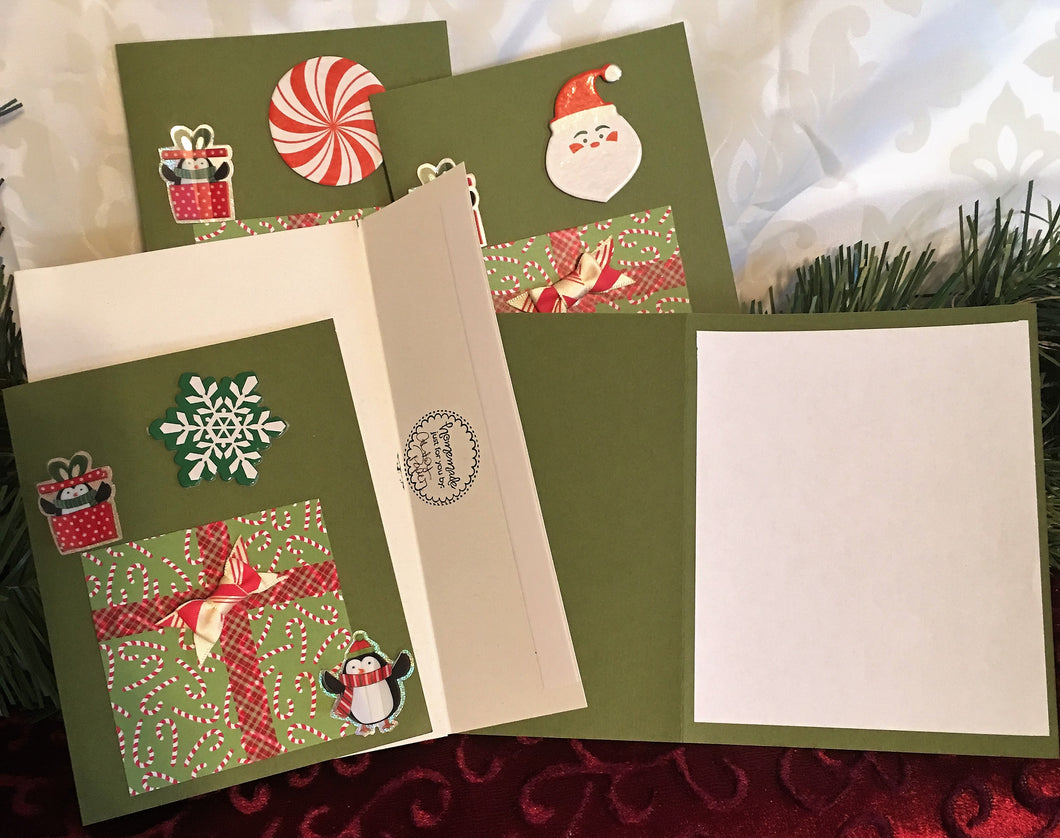 Penquines & Packages Handmade Christmas Cards & Envelopes (set of 4)