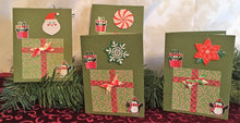 Load image into Gallery viewer, Penquines & Packages Handmade Christmas Cards & Envelopes (set of 4)