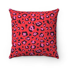 Load image into Gallery viewer, Holiday 2020 Red Leopard Square Pillow