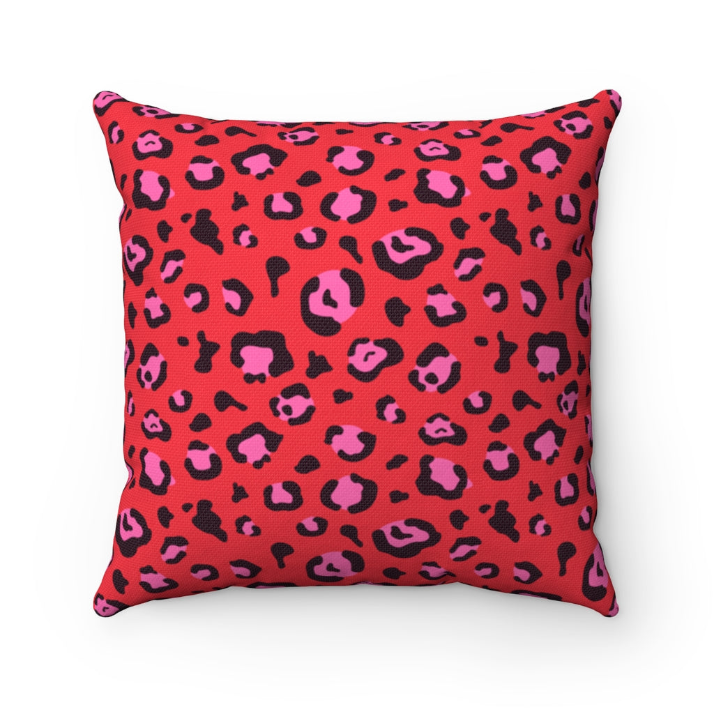 Holiday 2020 Red Leopard Square Pillow