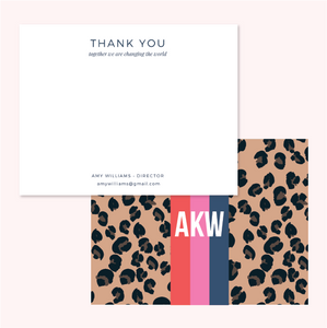 Personalized Stripe Back Flat Notes - Thank You