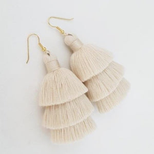 linen tassel earrings handmade