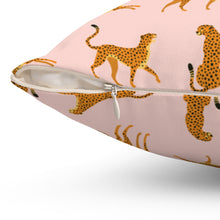 Load image into Gallery viewer, Pink Cheetah Square Pillow