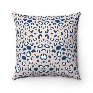 Cream Leopard Print Square Pillow