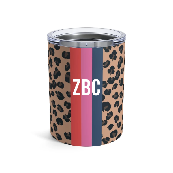Personalized Leopard Solid Stripe Tumbler