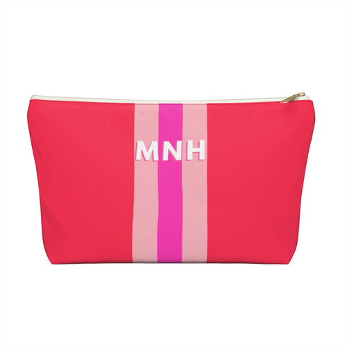 Red Love Stripe Personalized Pouch