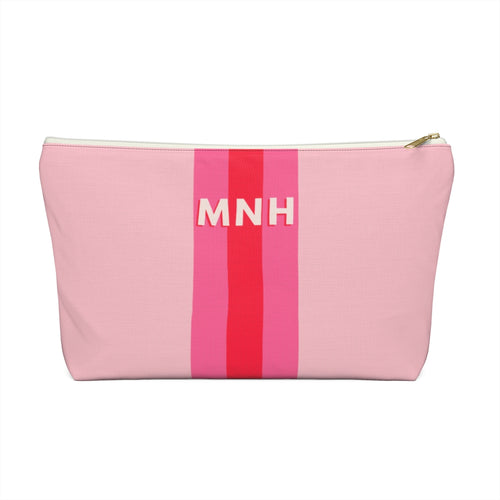 Blush Love Stripe Personalized Pouch