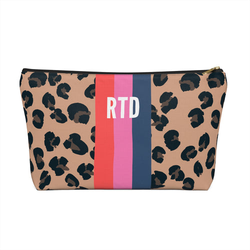 Personalized Leopard Striped Pouch