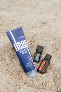 Relax and Protect Wellness Bag.  doTerra Deep Blue Rub (4 oz).  doTerra Deep Blue Soothing Blend Essential Oil.  doTerra OnGuard Protective Blend.