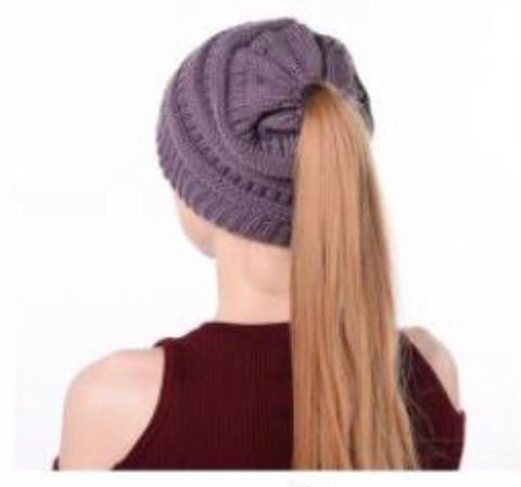 Purple Messy Bun Hat