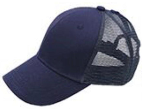 Navy Blue Ponytail Cap
