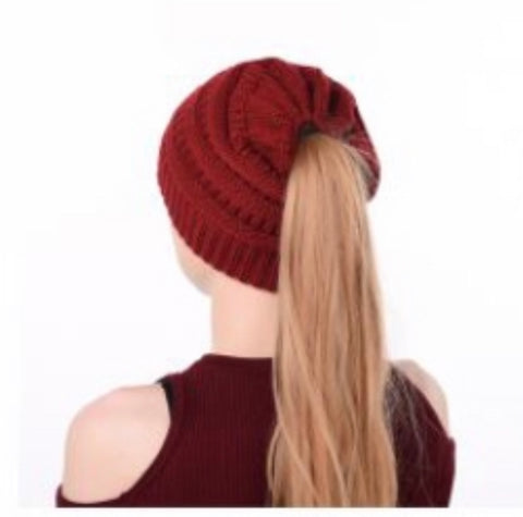 Burgundy Messy Bun Hat