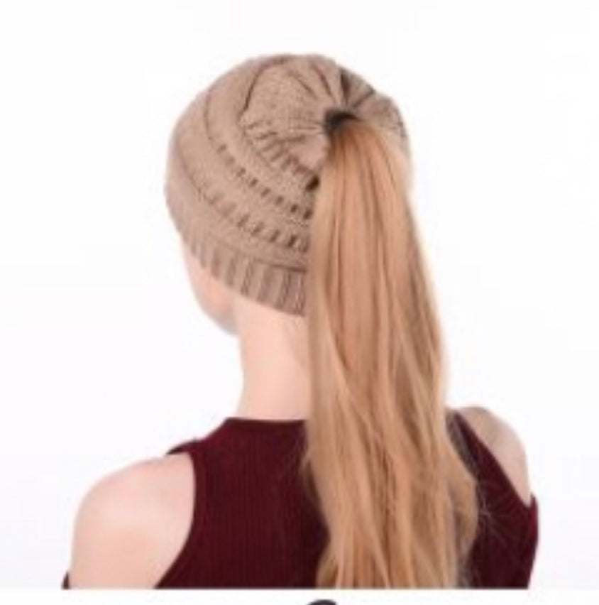 Tan Messy Bun Hat