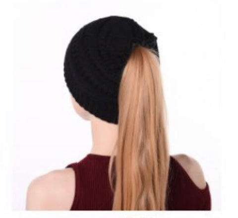 Black Messy Bun Hat