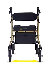 "Our signature ""S"" shaped back wheel support provides extra wide space between rear wheels to avoid tripping  and falling  of comodita Prima Special walker Rollator"