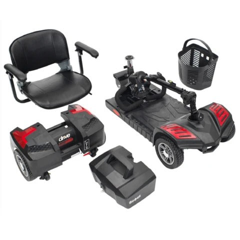 Mobility scooter pieces: Battery case (one or two cases), deck with front wheels & tiller, rear wheels with motor & front basket