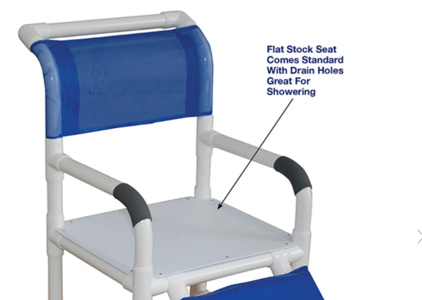 Drain holes on MJM International: Shower Chair With Flat Stock Seat For Uni-Lateral Or Bi-Lateral Below Knee Amputee - 118-3-AF