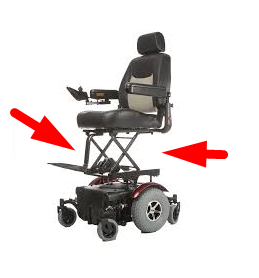 Scissor mechanism used on wheelchair with electric raised seat