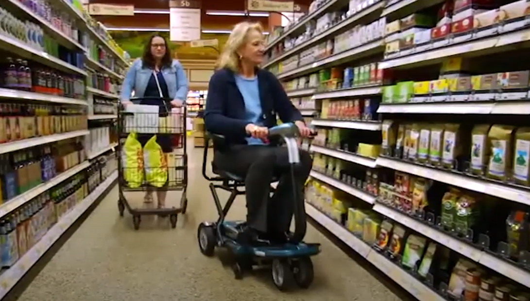 Mobility scooter in supermarket