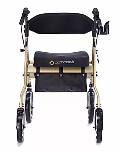 "Our signature ""S"" shaped back wheel support provides extra wide space between rear wheels to avoid tripping and falling of Comodita uno classic rollator"