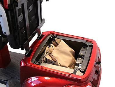 Backseat storage compartment on EW-66 dual seat scooter