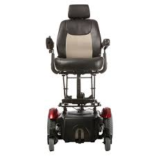 Head-on view of Merits: Vision Super Heavy Duty Power Chair - P327/P3274 in elevated seat position