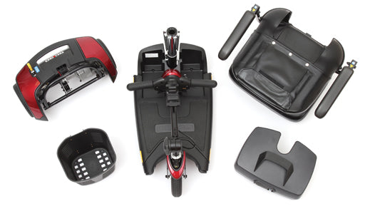 Disassembled travel mobility scooter