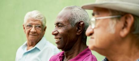 Happy elderly people, despite difficulties