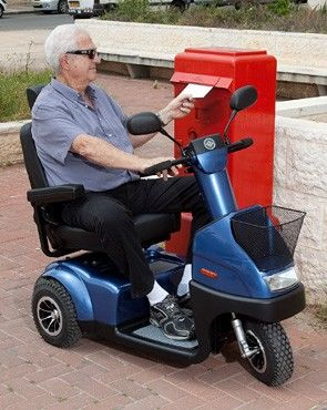 Afikim: Afiscooter C 3-Wheel Comfortable Mobility Scooter with elderly man