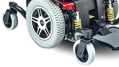 Wheels and suspension of Jazzy 614HD Bariatric Power Chair