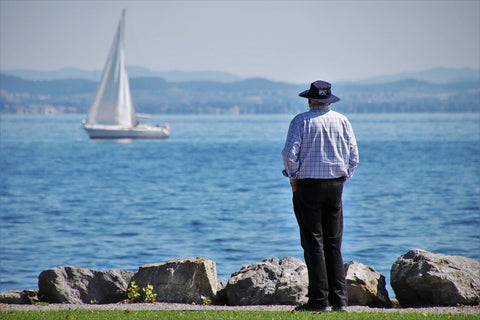 man seeing a boat