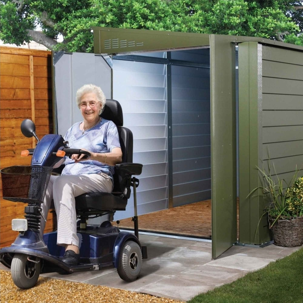 Mobility scooter storage shed