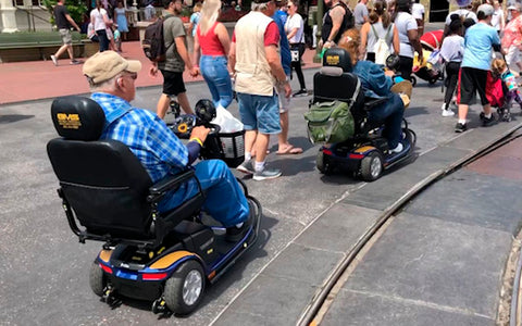 renting a mobility scooter at a theme park like disneyland