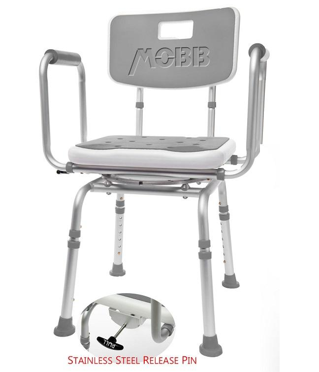 Mobb Healthcare: Swivel Shower Chair 2.0 with release pin zoomed in