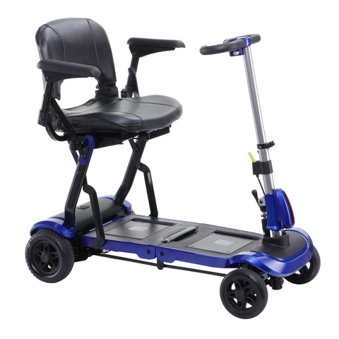 Drive Medical: ZooMe Flex Ultra Compact Folding Travel 4 Wheel Scooter, Blue - FLEX