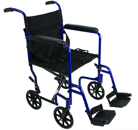 Compass Health: ProBasics Aluminum Transport Chair With Footrests (Available in Blue and Pink)