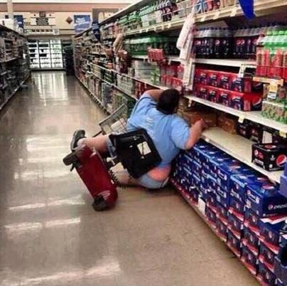 Viral image of mobility scooter accident in supermarket