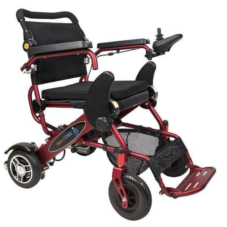 Geo Cruiser DX Lightweight Foldable Power Chair - Red Color