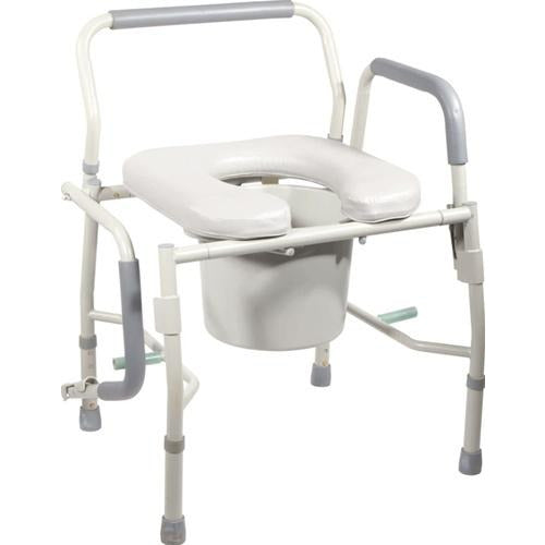 Drive Medical: Deluxe Steel Drop-Arm Commode with Padded Seat