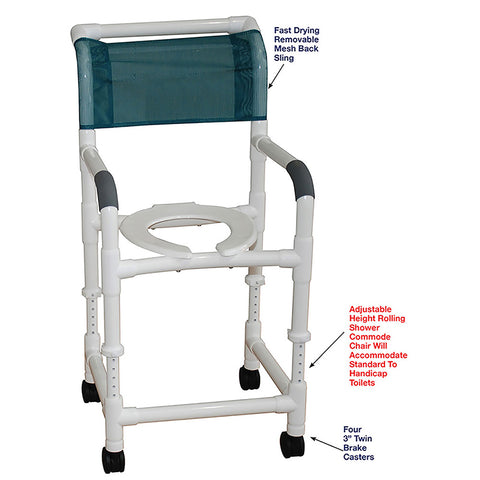 MJM International: Adjustable Height Rolling Shower Chair - 118-3-ADJ - Parts Overview