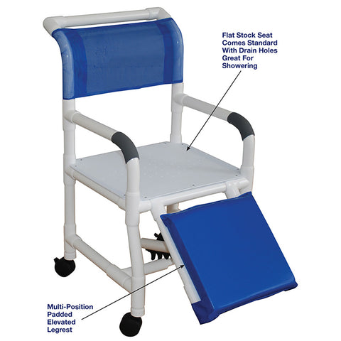 MJM International: Shower Chair with Flat Stock Seat for Uni-Lateral or Bi-Lateral below Knee Amputee - 118-3-AF - Parts Overview