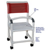 Image of MJM International: Shower Chair with Flat Stock Seat and Lap Security Bar - 118-3-F-LSB-18 - Parts Overview