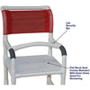 MJM International: Shower Chair with Flat Stock Seat and Lap Security Bar - 118-3-F-LSB-18 - Parts Overview