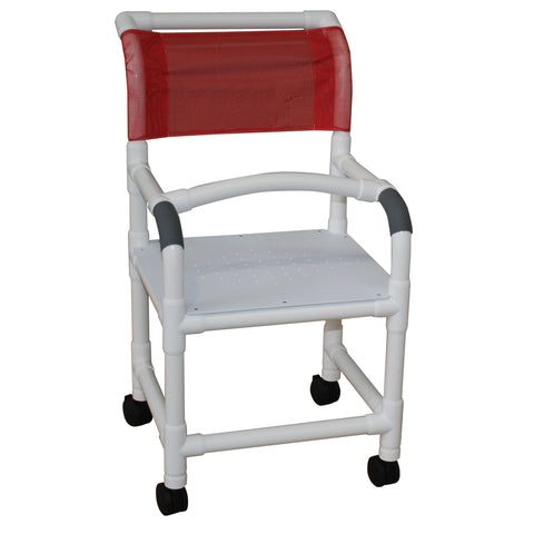 MJM International: Shower Chair with Flat Stock Seat and Lap Security Bar - 118-3-F-LSB-18 - Actual Image