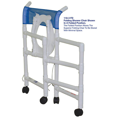 "MJM International: Folding Shower Chair Allows for ""No More Crowded Shower Rooms"" - 118-3-FD - Folded View"