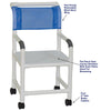 Image of MJM International: Shower Chair with Flat Stock Seat - 118-3-F - Parts Overview